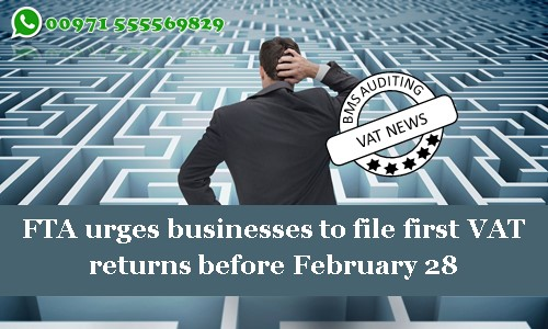 FTA urges businesses to file first VAT returns before February 28
